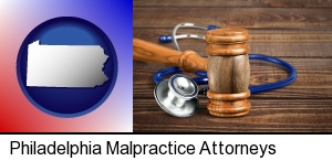 Philadelphia, Pennsylvania - a gavel and a stethoscope