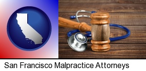 San Francisco, California - a gavel and a stethoscope
