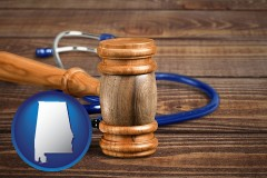 al map icon and a gavel and a stethoscope