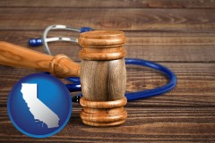 ca map icon and a gavel and a stethoscope