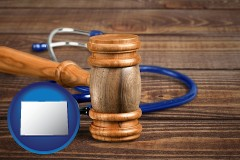 co map icon and a gavel and a stethoscope