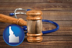 id map icon and a gavel and a stethoscope