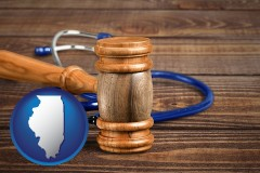 il map icon and a gavel and a stethoscope