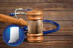 in map icon and a gavel and a stethoscope