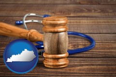 ky map icon and a gavel and a stethoscope