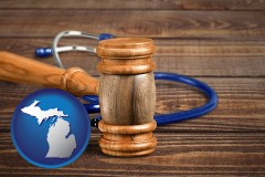 mi map icon and a gavel and a stethoscope