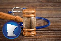 mn map icon and a gavel and a stethoscope