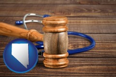 nv map icon and a gavel and a stethoscope
