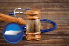 tn a gavel and a stethoscope