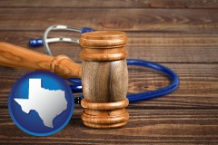 tx map icon and a gavel and a stethoscope