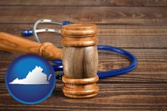 va a gavel and a stethoscope