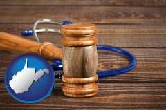 wv map icon and a gavel and a stethoscope