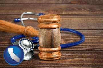 a gavel and a stethoscope - with California icon