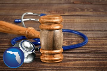 a gavel and a stethoscope - with Florida icon
