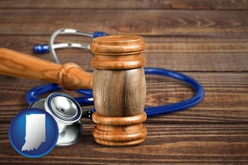 a gavel and a stethoscope - with Indiana icon