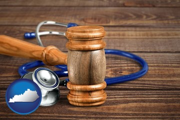 a gavel and a stethoscope - with Kentucky icon