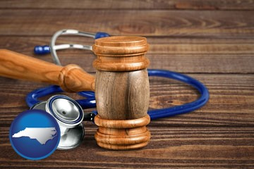 a gavel and a stethoscope - with North Carolina icon