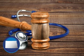 gavel and stethoscope - with North Dakota icon