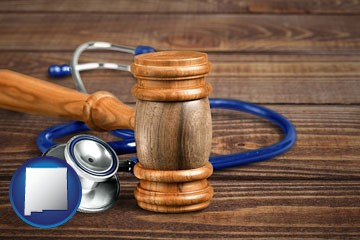 a gavel and a stethoscope - with New Mexico icon