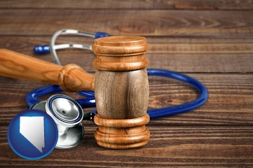 a gavel and a stethoscope - with Nevada icon