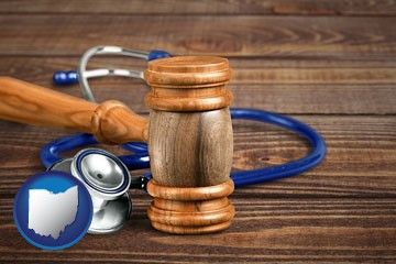 a gavel and a stethoscope - with Ohio icon