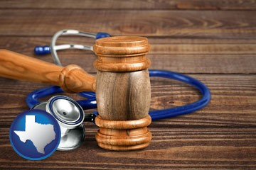 a gavel and a stethoscope - with Texas icon
