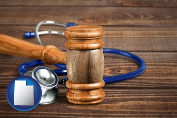 a gavel and a stethoscope - with Utah icon