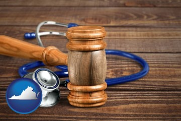 gavel and stethoscope - with Virginia icon
