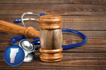 a gavel and a stethoscope - with Vermont icon