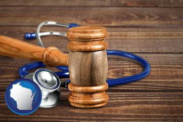 a gavel and a stethoscope - with Wisconsin icon