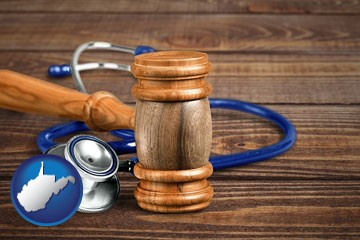 a gavel and a stethoscope - with West Virginia icon